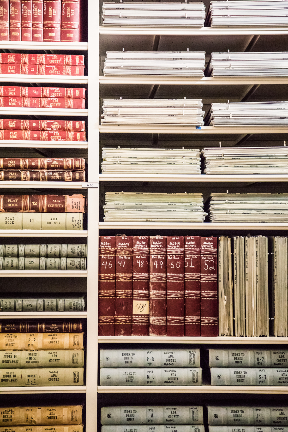 Manuscript and archival materials on shelves