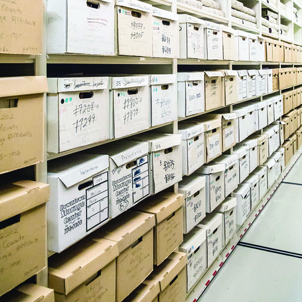 File boxes in the archival vault