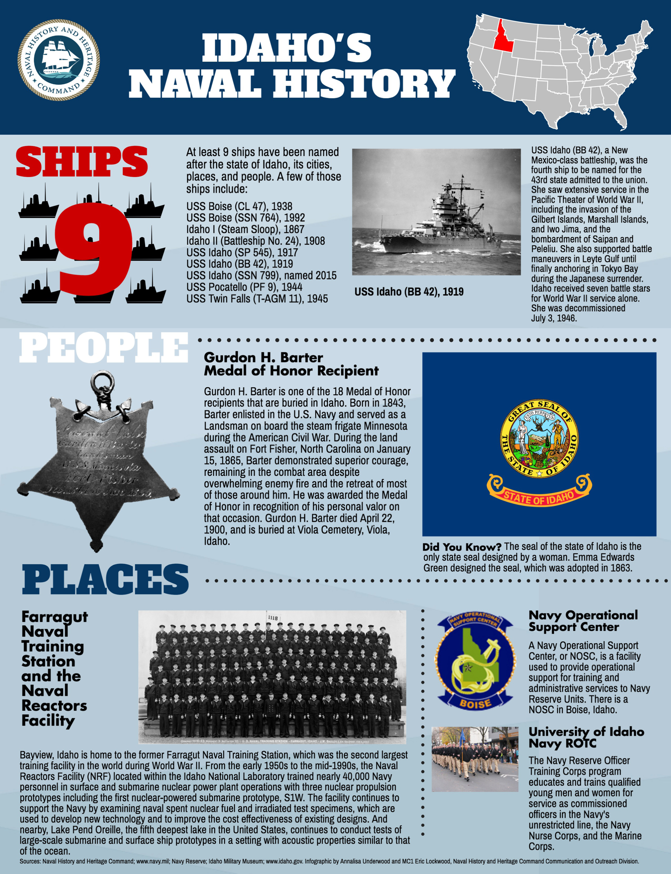Celebrate Boise Navy Week poster of Idaho's Naval History showing ships, people and places related to Idaho and the Navy.